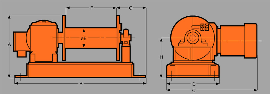Heavy Duty Lifting WinchesNLS Series Diagram