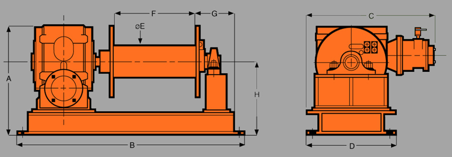 Heavy DutyAir Lifting Winches Diagram