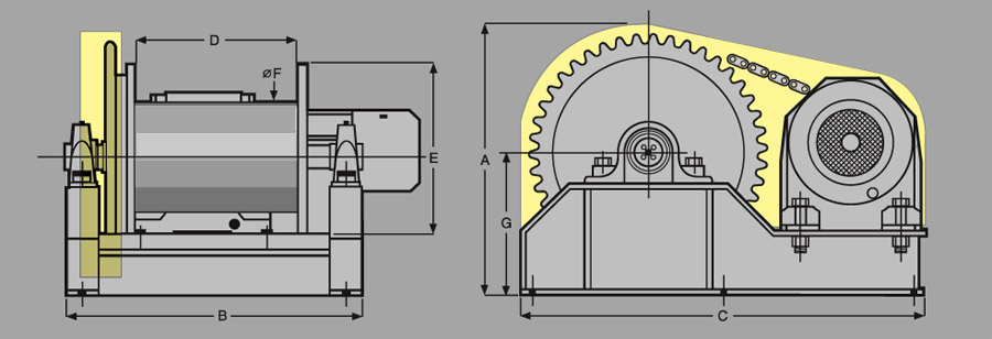 Heavy Duty CP Electric Winches Diagram