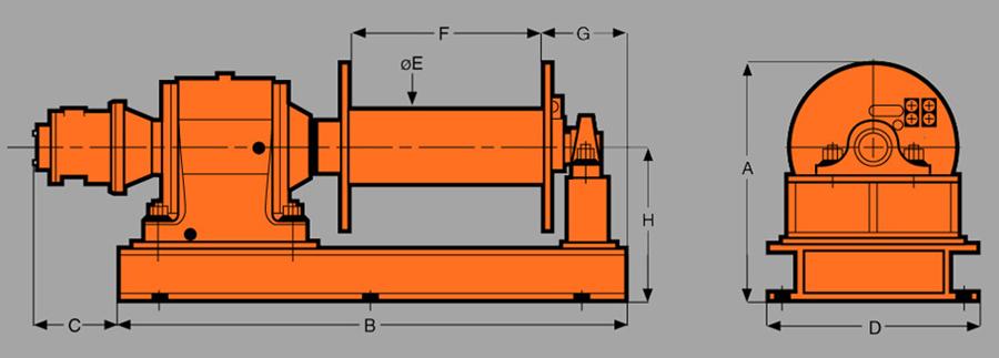 Heavy DutyAir Tugger Winches Diagram