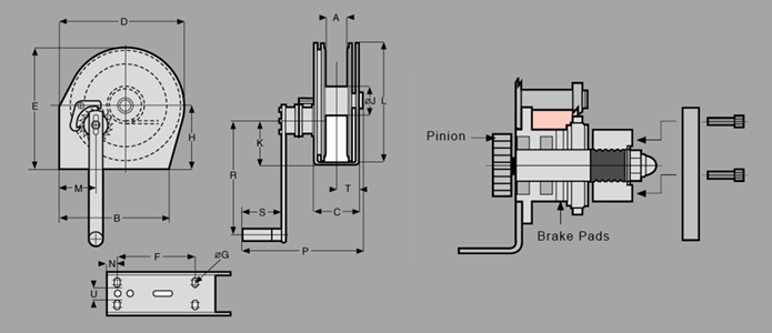 Stainless Steel ConsoleMount Winch Diagram